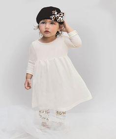 Baby Girl Dress Outfit , 3 Pc Set, Cotton Rib Ivory Dress, Leopard Leggings, Black Cotton Rib Cap,  Animal Print, 3 Piece Set, Tesa Babe