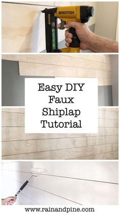 An Easy DIY Shiplap Wall Tutorial, painting and installing faux shiplap in an en. - An Easy DIY Shiplap Wall Tutorial, painting and installing faux shiplap in an entryway Our farmhouse - Cute Dorm Rooms, Cool Rooms, Diy Simple, Easy Diy, Farmhouse Side Table, Farmhouse Decor, Modern Farmhouse, Benjamin Moore, Do It Yourself Decoration