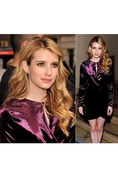 Emma Roberts Gorgeous Short Satin Purple Dress at Ferragamo Fashion Show 2012