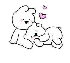 LINE Creators' Stickers - Extremely little Rabbit & bear Example with GIF Animation Cute Couple Cartoon, Cute Love Cartoons, Cute Love Gif, Cute Cat Gif, Cartoon Kiss Gif, Corazones Gif, Kitten Drawing, We Bare Bears Wallpapers, Cute Love Stories