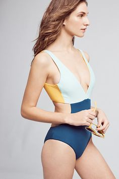 Slide View: 2: Basta Surf Reversible Colorblocked One-Piece