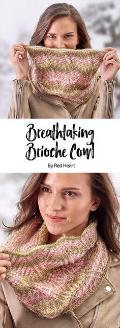 Breathtaking Brioche Cowl free crochet pattern in Unforgettable yarn.