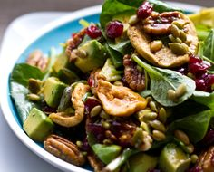 The Go-To Salad: Spinach with Avocado, Pumpkin Seeds, Walnuts, and Cranberries