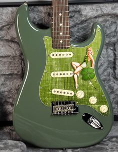 "Axetreme Custom Shop -50's style Irish "" Lucky Lady"" pinup girl Stratocaster pickguard. Guitar Painting, Guitar Neck, Irish Girls, Lucky Ladies, Fender Guitars, Custom Guitars, Innovation Design, Pin Up Girls, Pinup"