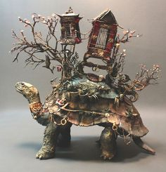 Tortoise of Burden, mixed media sculpture, 2013. Ellen Jewitt - my new new favourite artist! All natural materials, studies science and art, blending it into surreal natural history. wonderful.