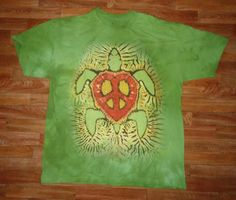This is a printed version of my Peace Turtle -Rasta Design (I do another one with Aqua Colors). The original goes for $100.00, because it takes about six hours to prepare for dye, but thanks to the water based jet print technique designed by The Mountain Corporation, of Keene New Hampshire, I am able to sell these prints for $25.00