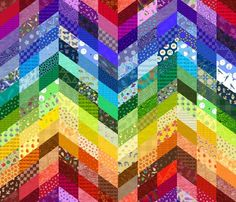Would be great to use if you wanted to mimic a quilt on alot of tables for a party. rainbow zigzag cheater quilt fabric by weavingmajor on Spoonflower - custom fabric Custom Printed Fabric, Printing On Fabric, Rainbow Chevron, Rainbow Room, Spoonflower Fabric, Quilting Designs, Quilting Ideas, Quilting Projects, Quilt Patterns
