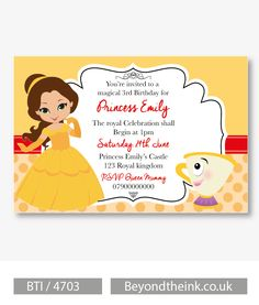 Personalised Princess Belle Beauty and The Beast Invitations.  Printed on Professional 300 GSM smooth card with free envelopes & delivery as standard. www.beyondtheink.co.uk