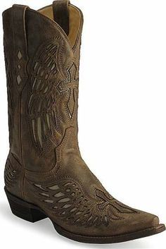c9790c0dc030eb Men s Corral Distressed Brown Wing And Cross Western Leather Cowboy Boots  Stiefel