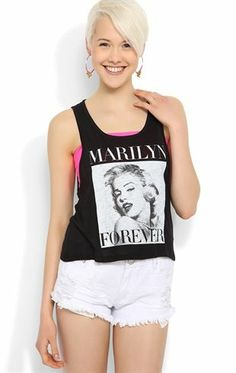 Deb Shops Deep Armhole Tank with #MarilynMonroe Forever Screen $14.25