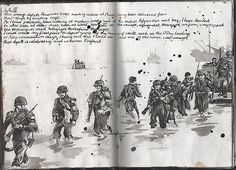 Ruth Beeley: St George's School, Hertfordshire England 2011. Sketchbook page for A Level Art Coursework final artwork. Indian ink used to draw soldiers landing at Arzeu in WWII.
