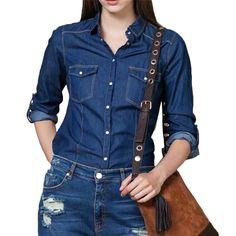 Women elagant blue denim shirts turn-down collar blouse long sleeve pockets shirts Blusas Femininas fashion casual tops LT754