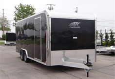 20' Black Enclosed Car Hauler By ATC. This Is an Outstanding Enclosed Car Hauler Which Features a Screwless Exterior, LED Exterior Lights, and a 7' Interior Height. $8,995 Any applicable fees and taxes are extra. Ref # HE205479 | Advantage Trailers and Hitches