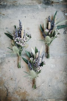 Blue Wedding Flowers - Outdoor Ceremony for a Destination Wedding in Provence France with Bride in a Collette Dinnigan gown and Bridesmaids in Coast Baby Blue Dresses with lilac pastel flowers. Pastel Flowers, Wild Flowers, French Flowers, Cake Flowers, Simple Flowers, Deco Floral, Floral Design, Boutonnieres, Thistle Boutonniere