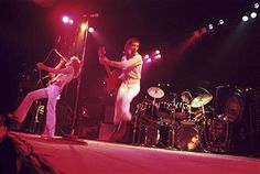 Singer Roger Daltrey, guitarist Pete Townshend and drummer Keith Moon of The Who perform at the Omni Coliseum on November 27, 1973 in Atlanta, Georgia.