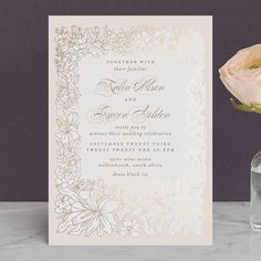 """Botanical Framed"" - Foil-pressed Wedding Invitations in Soft Pink by Phrosne Ras. Pastel Wedding Invitations, Make Your Own Wedding Invitations, Wedding Invitation Etiquette, Foil Stamped Wedding Invitations, Wedding Invitation Cards, Wedding Cards, Timeless Wedding, Pink, Floral Wedding"
