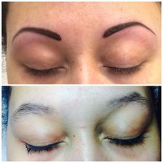 Feather Eyebrow Tattoo Before and After