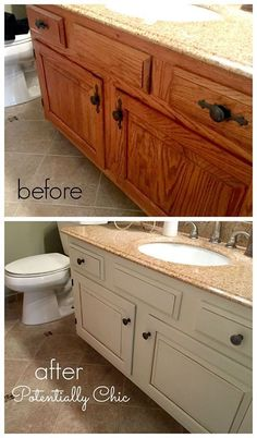What a difference a day and paint makes. Finished this bathroom vanity makeover today. General Finishes Antique White Milk Paint with Van Dyke Brown Glaze. #paintedcabinets #Roanoke - http://ift.tt/1HQJd81