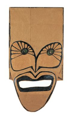 Mask, 1959-65. Mixed media on brown paper bag, 14 1/2 x 7 3/4″. The Saul Steinberg Foundation.