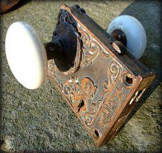 Antique Porcelain Door Knobs old antique white porcelain door knob handle set plate keyhole