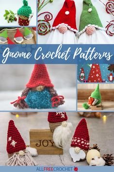 40+ Gnome Crochet Patterns Christmas Crochet Patterns, Crochet Patterns Amigurumi, Crochet Santa Hat, Crochet Hats, All Free Crochet, Christmas Gnome, Handmade Decorations, Gnomes, Garland