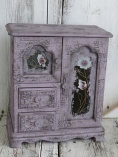 Shabby jewelry box, distressed jewelry box, time machine, enchanting style jewelry box, purple jewelry box, French script box, vintage box by ChippedPaints on Etsy
