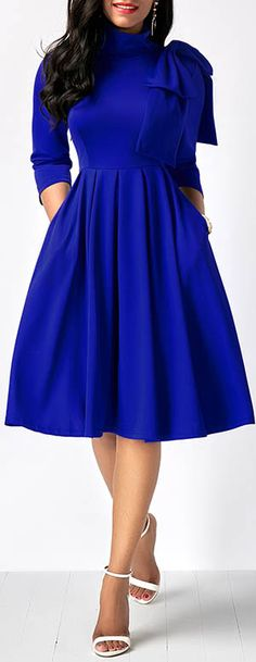 dress, royal blue dress, midi dress, long sleeve dress, party dress, highwaist dress, cute dress, knee length dress, simiformal dress, classy dress, rosewe dress, cocktail dress, dress for work, dress outfits, winter dress outfits, winter fashion, winter clothing, dress style, rosewe dress, free shipping worldwide at Rosewe.com.
