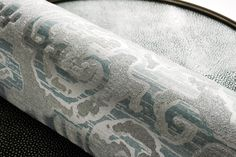 Zoffany - Costantina Damask Wallpaper Collection -Rennaisance Damask - Roll of the beaded wallpaper inspired by a strip of renaissance velvet.