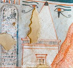 The tomb is depicted near the western mountain and protected by 2 eyes Oudjat. In front of her, a stele. | UNESCO World Heritage, Thebes in Egypt, Valley of the Nobles (Dra Abu el Naga), tomb of Roy. The tomb is represented near the Western Mountain and is protected by 2 Udjat Eyes. A  big stele in front of.        19th dynasty, Abou, Action, Ancient Egyptian Art, Ancient Egyptian Religion, Art, Color Image, Cultural heritage, Divinity, Dra Abu el Naga, Dynasty 19, Egypt, Egyptian Monument…