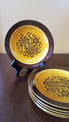 FOR SALE: Vintage Brown and Gold Dessert Plates, Set of 6 Appetizer Plates by SoDarnedVintage on Etsy   #fall #fallplates #autumn #dessertplates #saladplates #breadplates #appetizerplates #fleamarketstyle  #vintageplates #sodarnedvintage #etsy