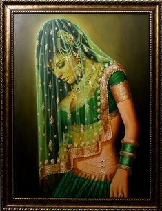 The Veiled Beauty, Oil on Canvas  Exotic India