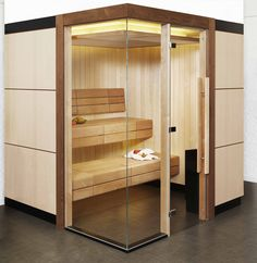 Passion sauna with lowered ceiling and LED lighting detail.