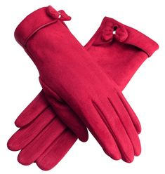 Urban CoCo Women's Elegant Vintage Warm Plush Lined Gloves (Red)