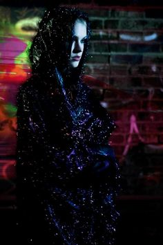 Fashion photo-shoot.   Dark Night in New York City.