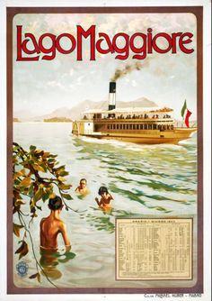 1907 Lago Maggiore, Orario 1 giugno 1907 Archivio Iconografico del Verbano Cusio Ossola Svizzera poster viaggio
