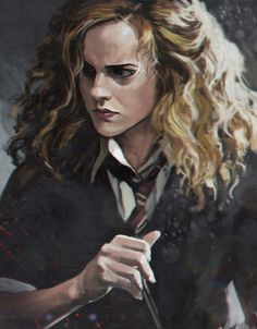 Hermione Granger by Ilya Brovkin (Btw, I believe this is the scene in Half-Blood Prince when Harry wins the Felix Felicis following Snape's instructions/comments, and Hermione is frazzled and confused about the whole thing.)                                                                                                                                                                                 More