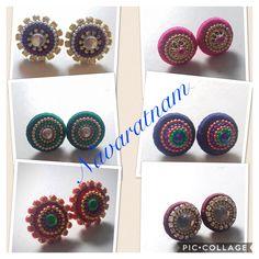 Silk thread studs using donuts Silk Thread Jhumkas, Silk Thread Earrings, Thread Jewellery, Diy Jewellery, Jewellery Making, Crochet Earrings, Jewelry Making Tutorials, Golden Color, Donuts
