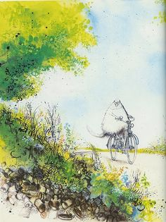 Ronald Searle illustration... Adorable fluffy cat on the bike. Classic illustration. It doesn't age to me.