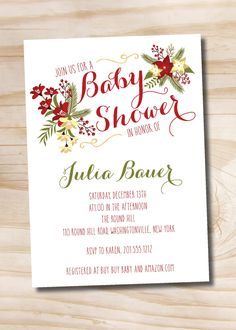 Christmas Floral Baby Shower Bridal Shower Couples Shower Invitation - Printable Invitation by PaperHeartCompany on Etsy