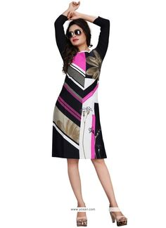 Fine Faux Crepe Multi Colour Print Work Party Wear Kurti Model: YOKU1252