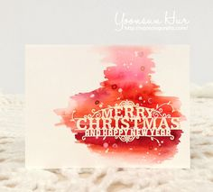 Watercoloring on this card is lovely.  Merry Christmas by Yoonsun Hur at @studio_calico