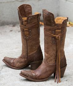 Corral Brown Fish Riding Boot - Women's Shoes | Buckle