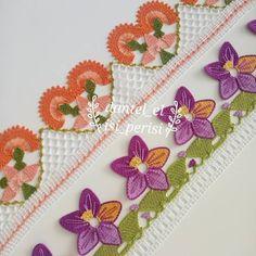 29 Tığ Oyası İğne Oyası Karışık Çiçekli Şık Havlu Kenarı Modelleri Knitted Poncho, Knitted Shawls, Creative Embroidery, Hand Embroidery, Crochet Flowers, Crochet Lace, Knit Shoes, Crochet Borders, Knitting Socks