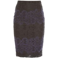 A.L.C. Indian lace skirt ($295) ❤ liked on Polyvore featuring skirts, navy, lace skirt, pencil skirt, lacy skirt, navy pencil skirt and knee length pencil skirt