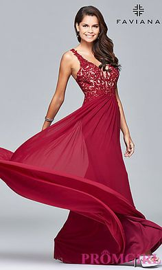 V-Neck Lace Applique Prom Dress by Faviana at PromGirl.com
