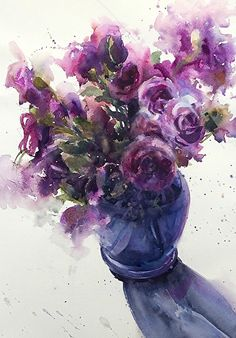 Lisianthus and the blue vase by Sarah Yeoman Watercolor ~ 21 x 14