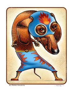 "El Perro Caliente (The Hot Dog) 11"" x 14"" Dachshund as Lucha Libre Wrestler"