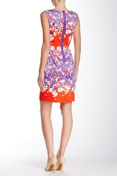 Adrianna Papell Ballet Neck Printed Sheath Dress