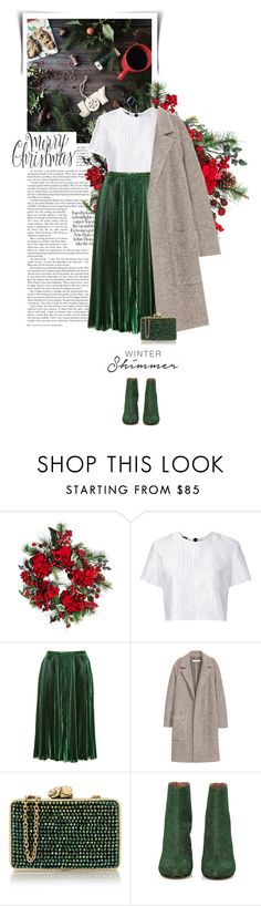 """""""winter shimmer."""" by eve-angermayer ❤ liked on Polyvore featuring Nearly Natural, Alex Perry, Rochas, Wilbur & Gussie, Maison Margiela, Winter, Christmas, eveangermayer and angermayerevelin"""