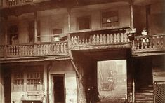 Coaching inns were once found on every major thoroughfare in London but with the coming of the railways, many fell into disuse. This picture shows the Oxford Arms around 1875, a typical example of a galleried inn, which was later converted into tenements, and finally demolished in 1876.